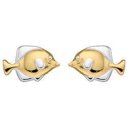 Fish stud earrings in silver with gold plating