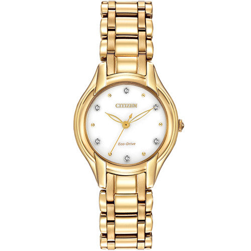 Watch - Ladies' Citizen Silhouette Diamond in yellow gold plated stainless steel EM0282-56A  - PA Jewellery