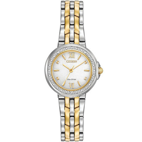Watch - Ladies' Citizen Silhouette Diamond in two tone stainless steel EM0444-56A  - PA Jewellery