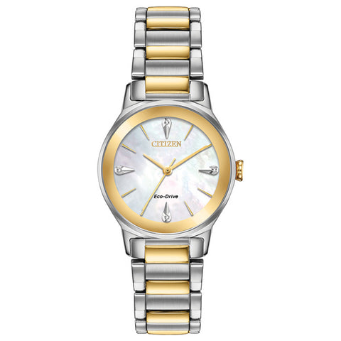 Ladies' Citizen Axiom in two tone stainless steel EM0734-56D