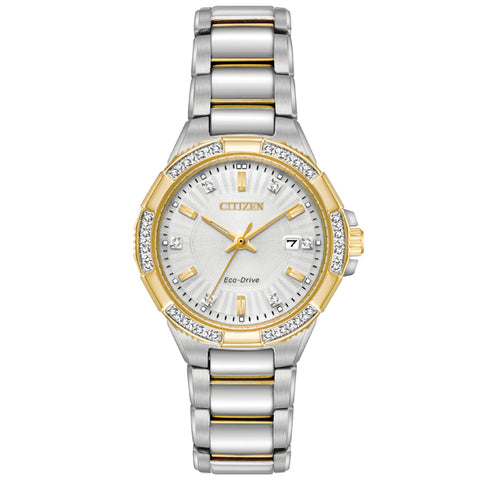 Ladies' Citizen Riva 24 Diamonds Eco-Drive in two tone stainless steel EW2464-55A