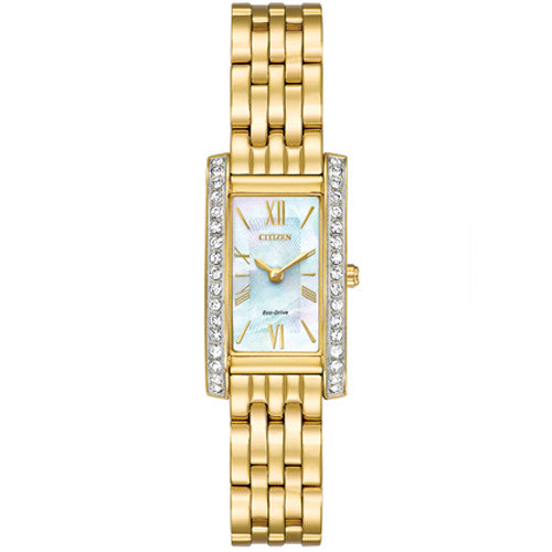 Watch - Ladies' Citizen Silhouette Crystal in yellow gold plated stainless steel EX1472-81D  - PA Jewellery