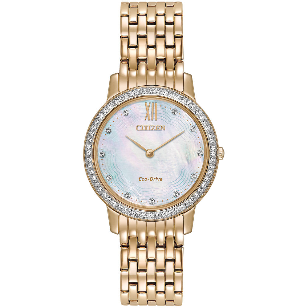 Ladies' Citizen Silhouette Crystal in rose gold plated stainless steel EX1483-50D