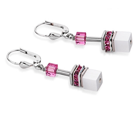 Earrings - White and pink cube earrings - 2838/20-1552  - PA Jewellery