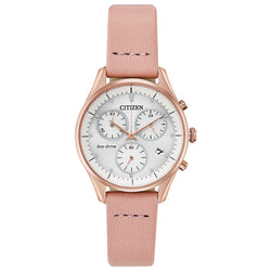Ladies' Citizen Silhouette Chronograph in rose gold plated stainless steel on leather FB1443-08A