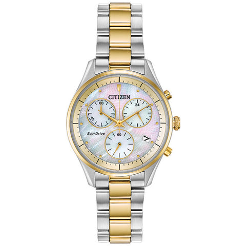 Ladies' Citizen Silhouette Chronograph in two tone stainless steel FB1444-56D