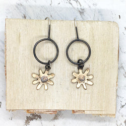 Daisy hoop drop earrings in silver and bronze