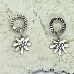 Daisy loop drop earrings in silver