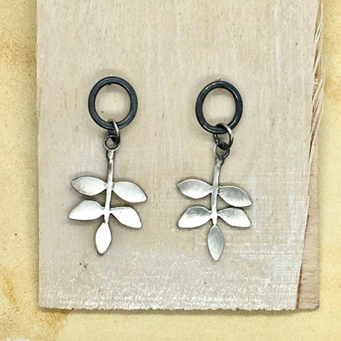 Leaf drop earrings in silver