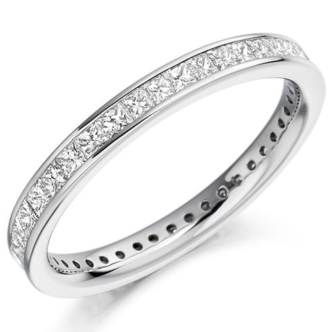 Ring - Princess cut diamond channel set full eternity ring, 1.00ct  - PA Jewellery