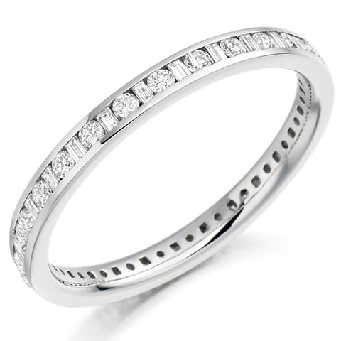 Ring - Round brilliant and baguette cut diamond channel set full eternity ring, 0.50ct  - PA Jewellery
