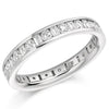 Ring - Round brilliant and baguette cut diamond channel set full eternity ring, 1.53ct  - PA Jewellery