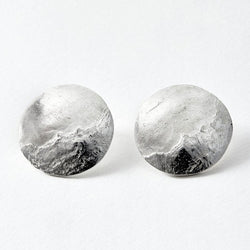 Mountain textured dome stud earrings in silver