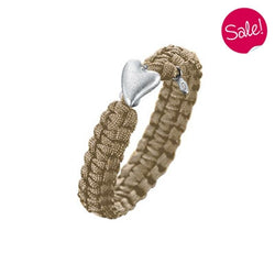 Wristwear - From Soldier To Soldier bracelet - sand with heart clasp and diamond  - PA Jewellery