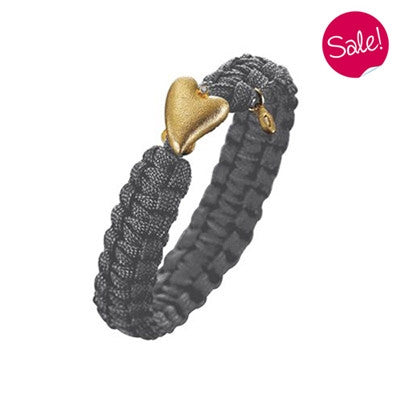 Wristwear - From Soldier To Soldier bracelet - Grey with gold plated heart clasp and diamond  - PA Jewellery