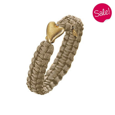 Wristwear - From Soldier To Soldier bracelet - sand with gold plated heart clasp and diamond  - PA Jewellery