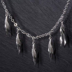 Frond double leaf necklace in argentium silver