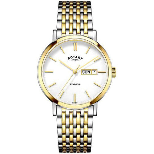Watch - Men's Rotary Windsor in two tone stainless steel GB05301/01  - PA Jewellery