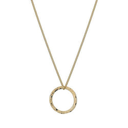 Hammered circle pendant and chain in 9ct gold