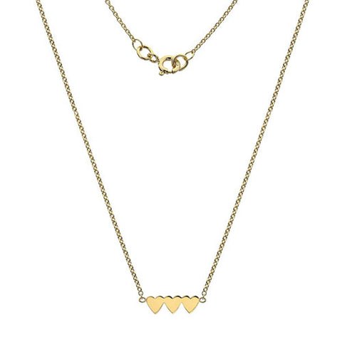 Triple heart necklace in 9ct yellow gold