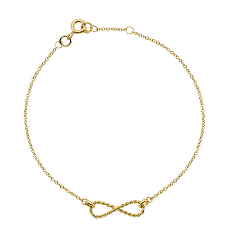 Rope effect infinity bracelet in 9ct yellow gold