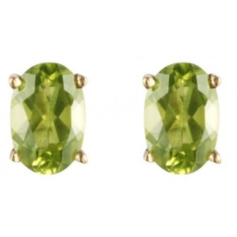Oval peridot stud earrings in 9ct gold