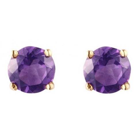 Amethyst round 4mm stud earrings in 9ct gold