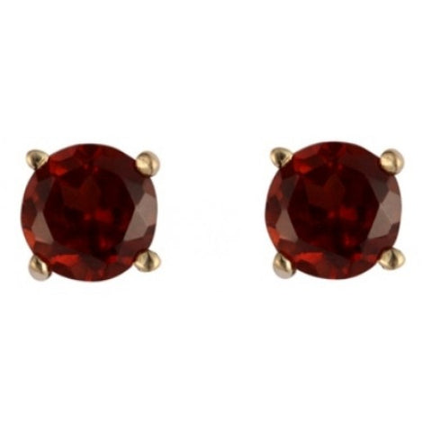 Garnet round cut 4mm stud earrings in 9ct gold