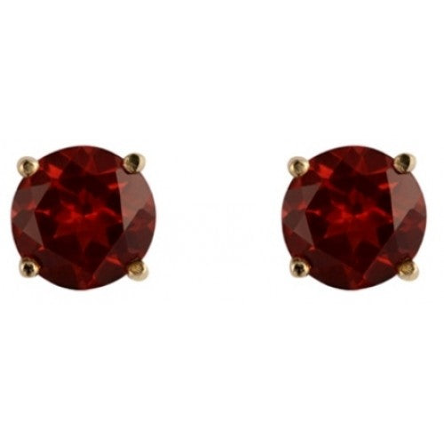 Garnet round cut 5mm stud earrings in 9ct gold