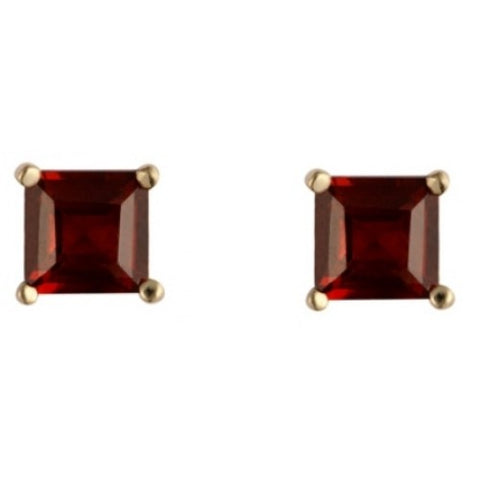 Square garnet stud earrings in 9ct gold