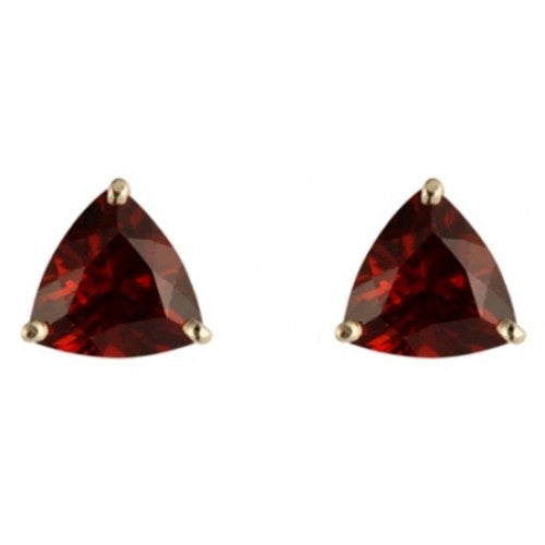 Triangular garnet stud earrings in 9ct gold