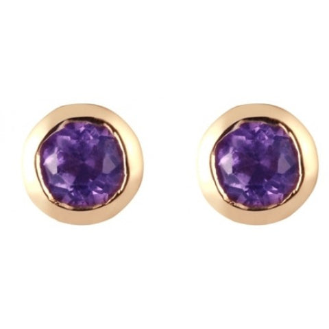 Amethyst round rubover 5mm stud earrings in 9ct gold