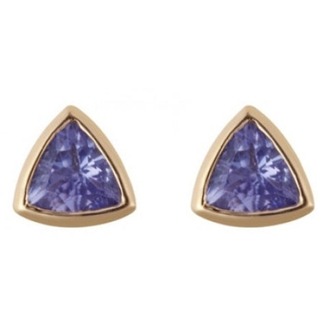 Tanzanite triangular rubover set stud earrings in 9ct gold
