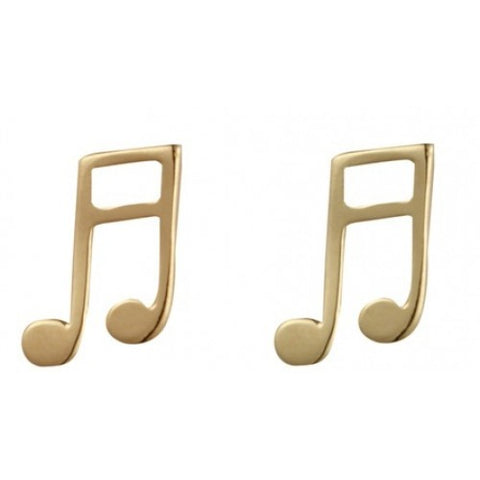 Musical note stud earrings in 9ct gold