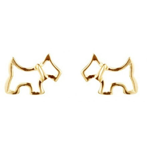 Scottie Dog Stud earrings in 9ct gold