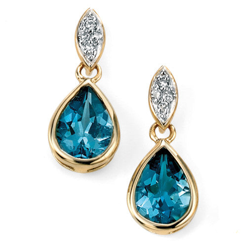 London blue topaz and diamond drop earrings in 9ct gold