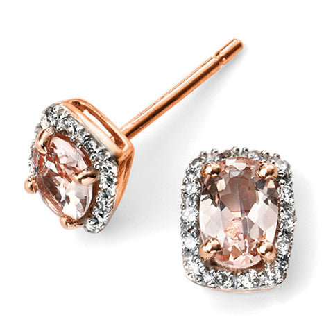 Morganite and diamond cluster earrings in 9ct rose gold