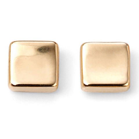Square stud earrings in 9ct gold