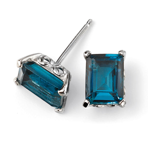 London Blue Topaz octagon cut stud earrings in 9ct white gold