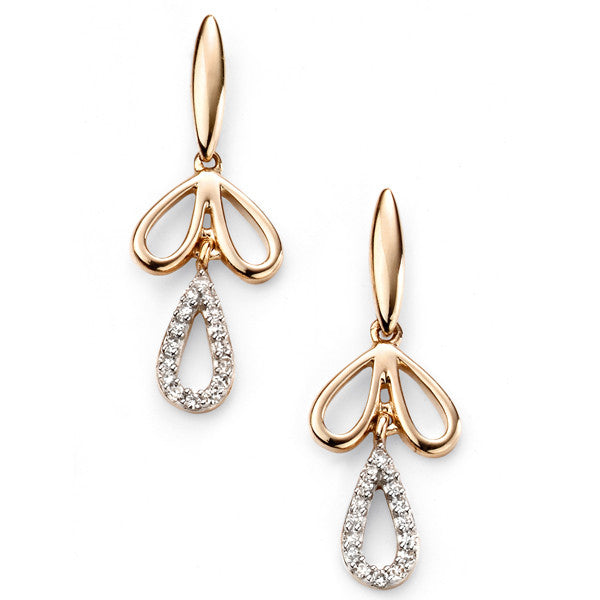 Earrings - Drop earrings in 9ct yellow gold set with diamonds  - PA Jewellery