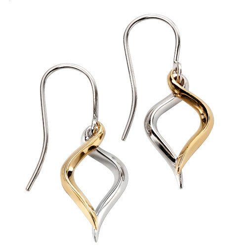 Twist drop earrings in 9ct yellow and white gold