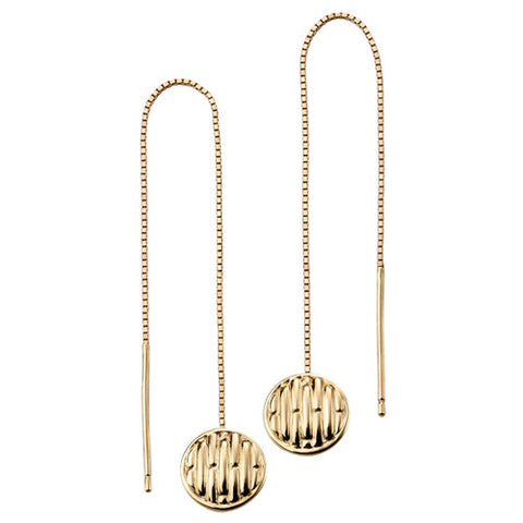 Round pull-through earrings in 9ct gold