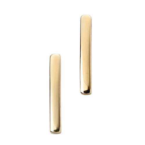 Stick stud earrings in 9ct gold