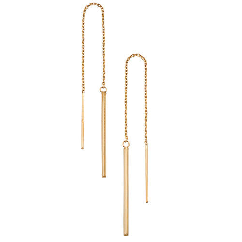 Long stick drop pull-through earrings in 9ct gold
