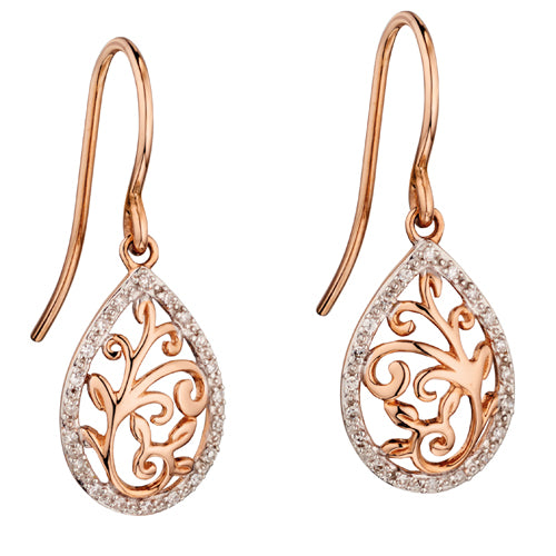 Diamond leaf design drop earrings in 9ct rose gold