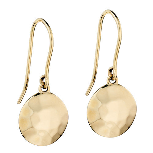 Hammered finish disc drop earrings in 9ct gold
