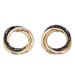 Black diamond circle earrings in 9ct gold