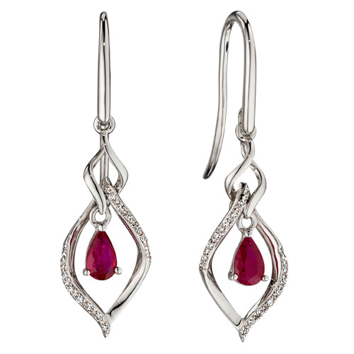 Ruby and diamond drop earrings in 9ct white gold