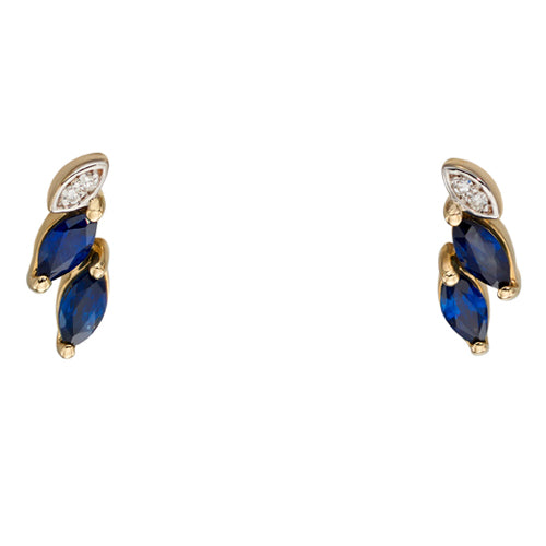 Sapphire and diamond earrings in 9ct gold