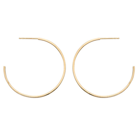 Square section hoop earrings in 9ct gold